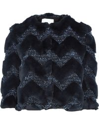 Ainea - Cropped Faux Fur And Bouclé Jacket Midnight Blue - Lyst