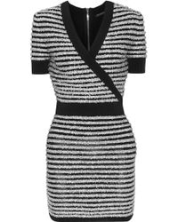 Balmain - Wrap-effect Striped Tinsel And Stretch-knit Mini Dress - Lyst