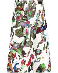 Versus - Printed Satin Midi Skirt - Lyst