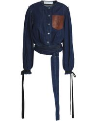 JW Anderson - Woman Cropped Leather-appliquéd Denim Jacket Dark Denim - Lyst