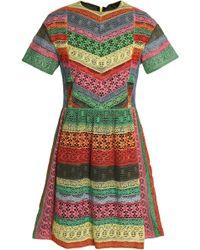 Valentino - Panelled Striped Lace Mini Dress - Lyst