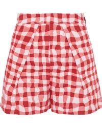 MSGM - Printed Pleated Cotton-gabardine Shorts - Lyst