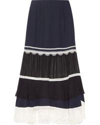 Jonathan Simkhai - Embellished Paneled Chiffon And Silk-crepe Midi Skirt - Lyst