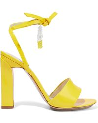 Delpozo - Bead-embellished Glossed-leather Sandals - Lyst