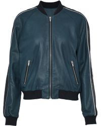 VEDA - Champion Striped Leather Bomber Jacket - Lyst