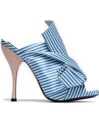 N°21 - Knotted Striped Satin Mules - Lyst