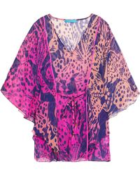 Matthew Williamson Escape - Printed Silk-chiffon Kaftan - Lyst