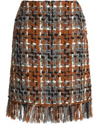 Sonia Rykiel - Fringe-trimmed Bouclé-tweed Skirt - Lyst