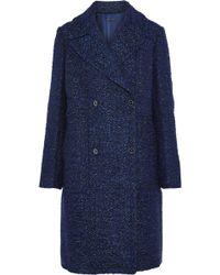 Elie Tahari - Woman Double-breasted Bouclé-tweed Coat Indigo - Lyst