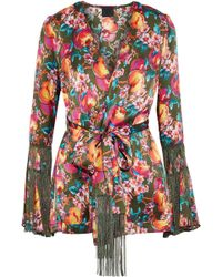 Anna Sui - Fringe-trimmed Printed Silk Wrap Jacket - Lyst