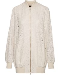 Stella McCartney - Simone Embroidered Cotton-blend Corded Lace Bomber Jacket Pastel Pink - Lyst