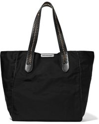 Stella McCartney - Woman Faux Leather And Chain-trimmed Twill Tote Black - Lyst