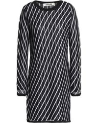 Diane von Furstenberg - Striped Pointelle-knit Mini Dress - Lyst