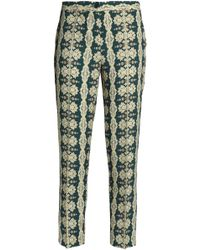 Etro - Printed Crepe Tapered Trousers Dark Green - Lyst