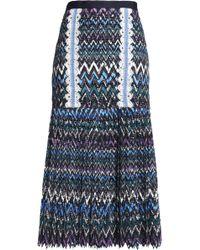 Saloni - Diana Crochet-trimmed Printed Guipure Lace Midi Skirt - Lyst