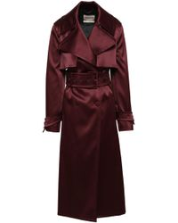Roberto Cavalli - Woman Double-breasted Satin Trench Coat Merlot - Lyst