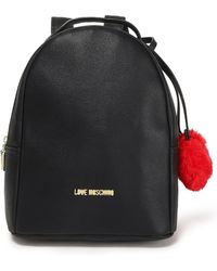 Love Moschino - Pompom-embellished Faux Leather Backpack Black - Lyst