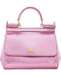 Dolce   Gabbana - Woman Sicily Mini Mirrored-python Shoulder Bag Baby Pink  - Lyst 622d269e96613