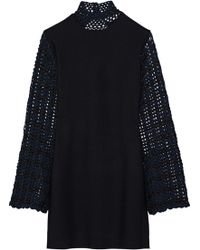 Opening Ceremony - Open-back Crochet-paneled Stretch-knit Mini Dress - Lyst