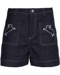 Markus Lupfer - Embroidered Denim Shorts - Lyst