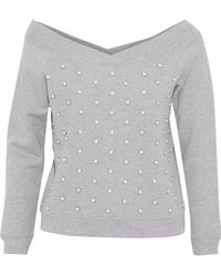 Rebecca Minkoff - Faux Pearl-embellished French Cotton-terry Sweatshirt - Lyst