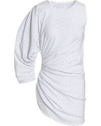Christopher Esber - One-sleeve Polka-dot Ruched Woven Top - Lyst