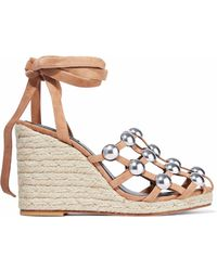 Alexander Wang - Taylor Studded Suede Espadrille Wedge Sandals - Lyst