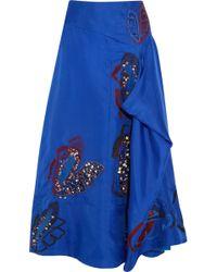 ROKSANDA - Floral-appliquéd Draped Silk Midi Skirt Cobalt Blue - Lyst