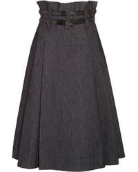 Bottega Veneta - Leather-trimmed Pleated Denim Midi Skirt Dark Denim - Lyst