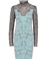 Lanvin - Metallic Lace-paneled Brocade Dress - Lyst