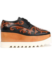 Stella McCartney - Studded Appliquéd Faux Leather Platform Brogues - Lyst