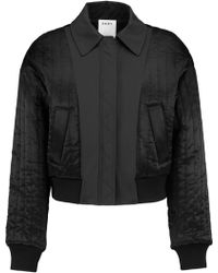 DKNY - Cropped Shell-paneled Quilted Satin Bomber Jacket - Lyst