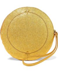 Jérôme Dreyfuss - Jérôme Dreyfuss Woman Metallic Textured-leather Clutch Gold - Lyst
