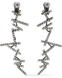 Kenneth Jay Lane - Gunmetal-tone Crystal Clip Earrings - Lyst