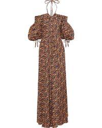 Zac Posen - Cold-shoulder Pleated Printed Cotton-poplin Maxi Dress Multicolor - Lyst