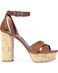Casadei - Woman Ranger Leather Platform Sandals Brown - Lyst