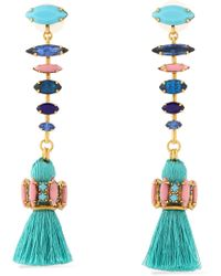 Elizabeth Cole - Tasselled Gold-tone, Crystal And Stone Earrings - Lyst