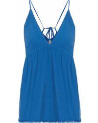 Raquel Allegra - Woman Tulip Frayed Crepe Camisole Blue - Lyst