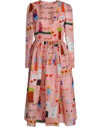 Dolce & Gabbana - Printed Silk-organza Midi Dress - Lyst
