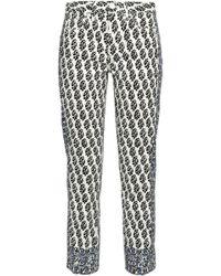 Tory Burch - Printed Mid-rise Slim-leg Jeans - Lyst