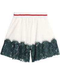 MM6 by Maison Martin Margiela - Panled Lace And Crepe Shorts - Lyst