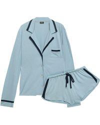 Cosabella Pima Cotton And Modal-blend Jersey Pyjama Set Light Blue