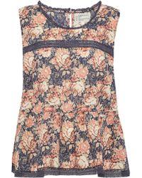 Current/Elliott - Crochet-trimmed Floral-print Cotton-gauze Top - Lyst