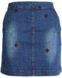 Vanessa Bruno Athé - Woman Embroidered Denim Mini Skirt Mid Denim - Lyst