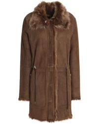 Yves Salomon - Shearling-lined Leather Coat Dark Brown - Lyst