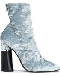 3.1 Phillip Lim - Kyoto Crushed-velvet Ankle Boots Sky Blue - Lyst