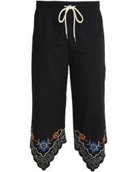 See By Chloé - Embroidered Cotton-poplin Straight-leg Trousers Midnight Blue - Lyst
