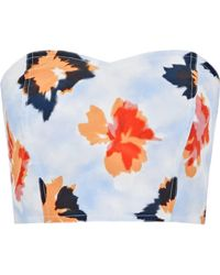 Opening Ceremony - Reversible Strapless Floral-print Silk Bustier Top - Lyst
