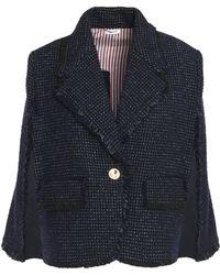 Thom Browne - Fringe-trimmed Wool-blend Tweed Jacket - Lyst