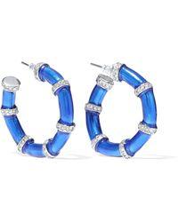 Kenneth Jay Lane - Woman Silver-tone, Crystal And Enamel Hoop Earrings Bright Blue - Lyst